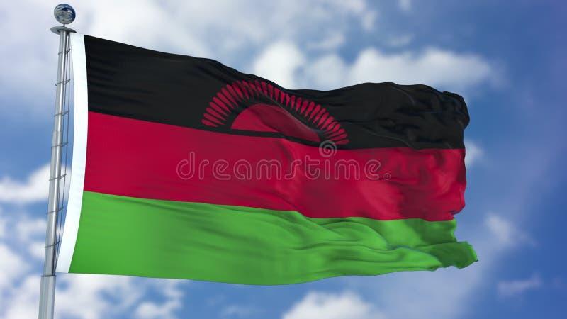 De Vlag van Malawi in een Blauwe Hemel royalty-vrije stock foto's