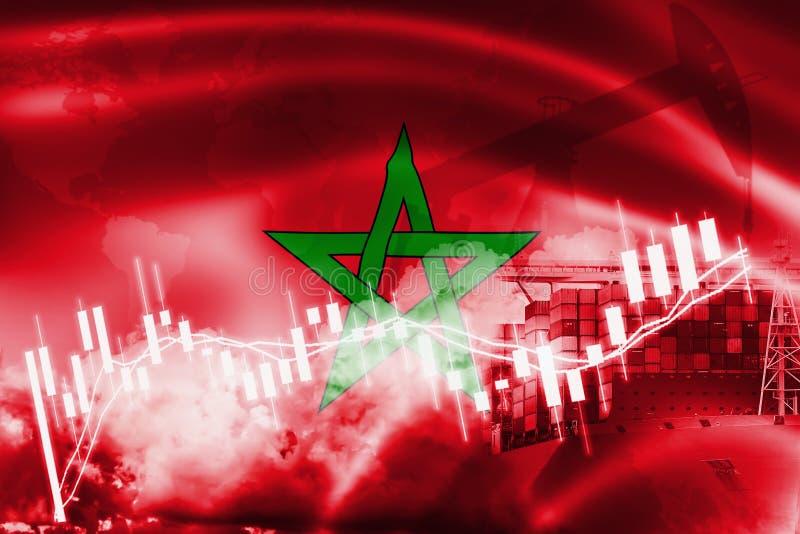 De vlag van Marokko, effectenbeurs, uitwisselingseconomie en Handel, olieproductie, containerschip in de uitvoer en de invoerzake royalty-vrije illustratie