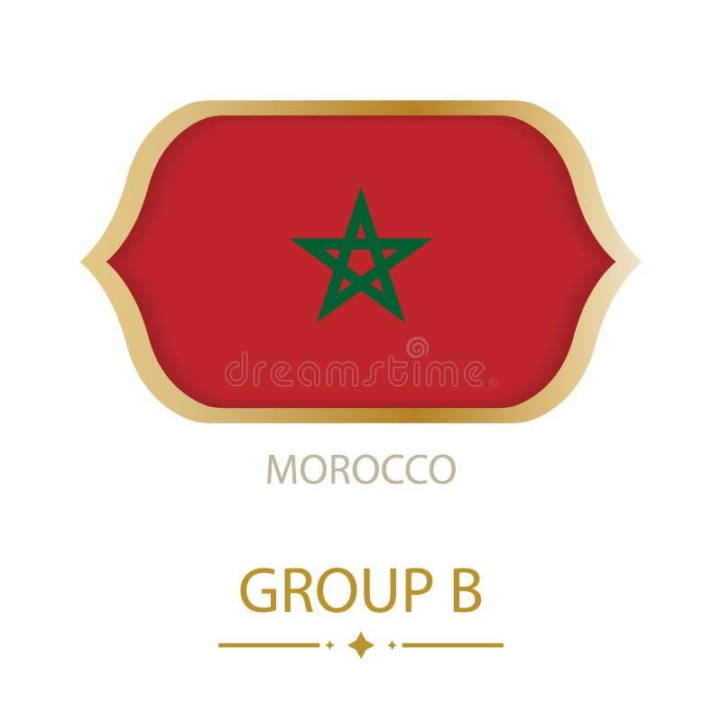 De vlag van Marokko wordt gemaakt in de stijl van de Voetbalwereldbeker royalty-vrije illustratie
