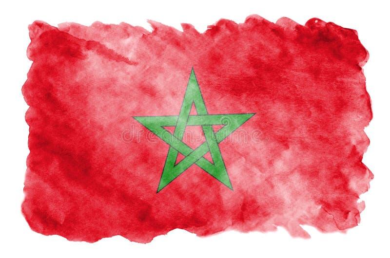 De vlag van Marokko wordt in vloeibare die waterverfstijl afgeschilderd op witte achtergrond wordt geïsoleerd royalty-vrije illustratie