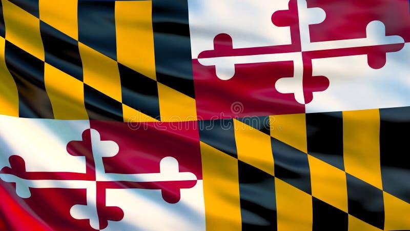 De vlag van Maryland 3D Illustratie De V.S. vector illustratie
