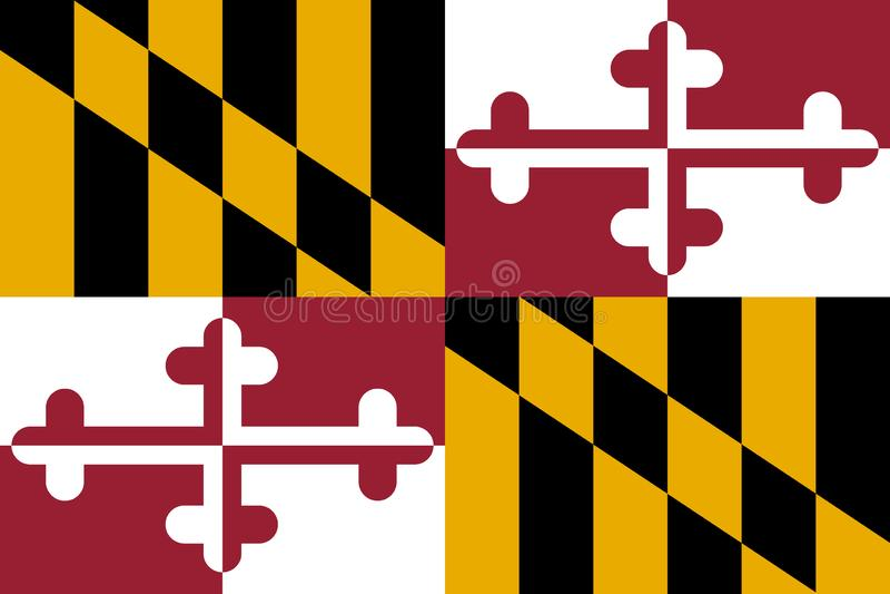 De vlag van Maryland Vector illustratie De Verenigde Staten van Amerika stock illustratie