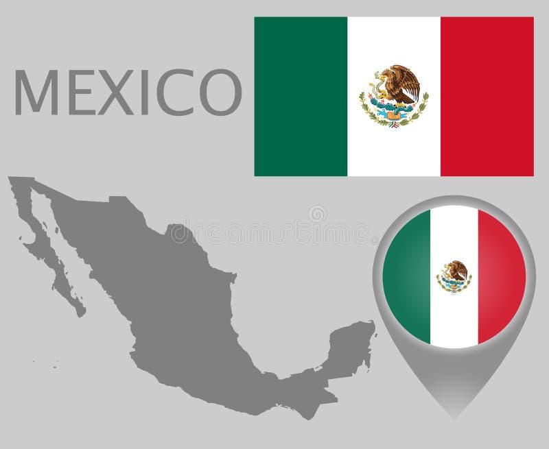 De vlag van Mexico, lege kaart en kaartwijzer royalty-vrije illustratie