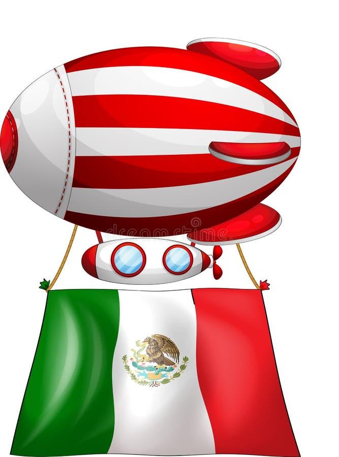De vlag van Mexico maakte aan een drijvende ballon vast vector illustratie