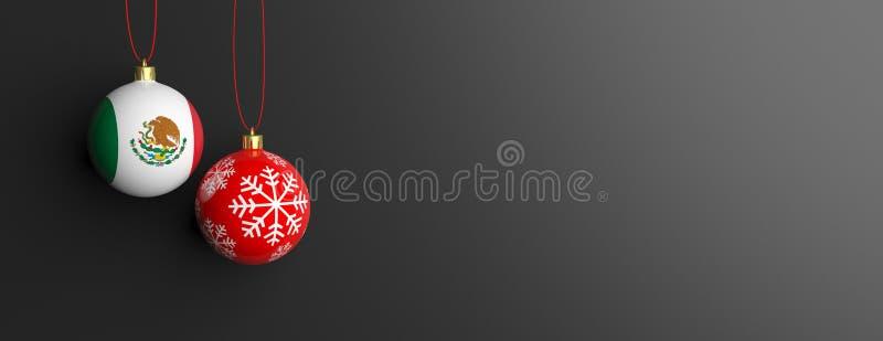 De vlag van Mexico op een Kerstmisbal, zwarte achtergrond 3D Illustratie royalty-vrije illustratie