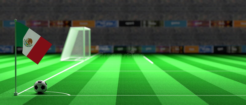 De vlag van Mexico op een voetbalgebied 3D Illustratie vector illustratie