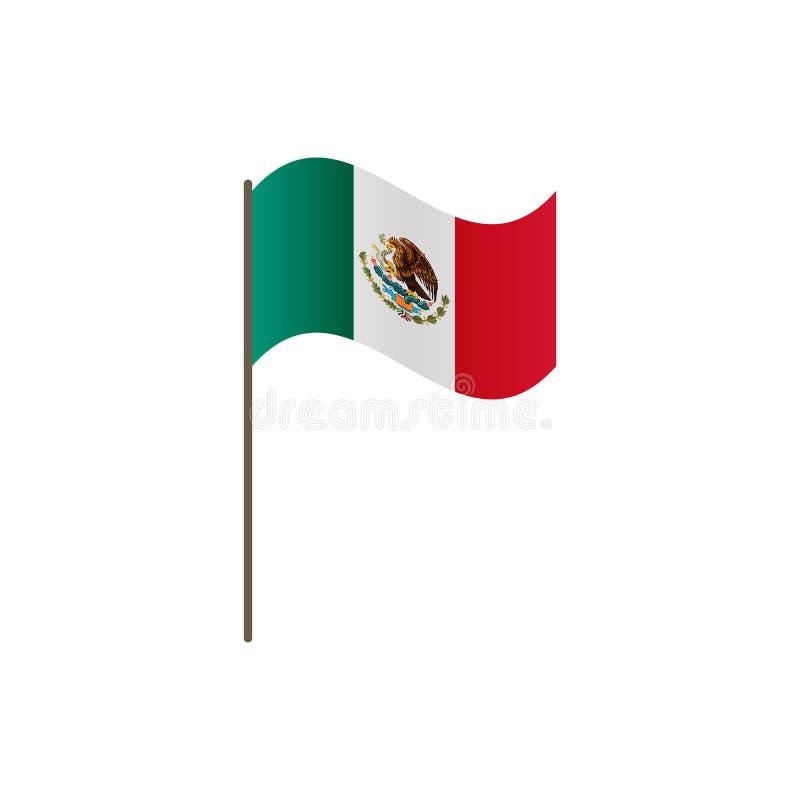 De vlag van Mexico op de vlaggestok Officieel kleuren en aandeel correct Het golven van de vlag van Mexico op vlaggestok, vectori stock illustratie