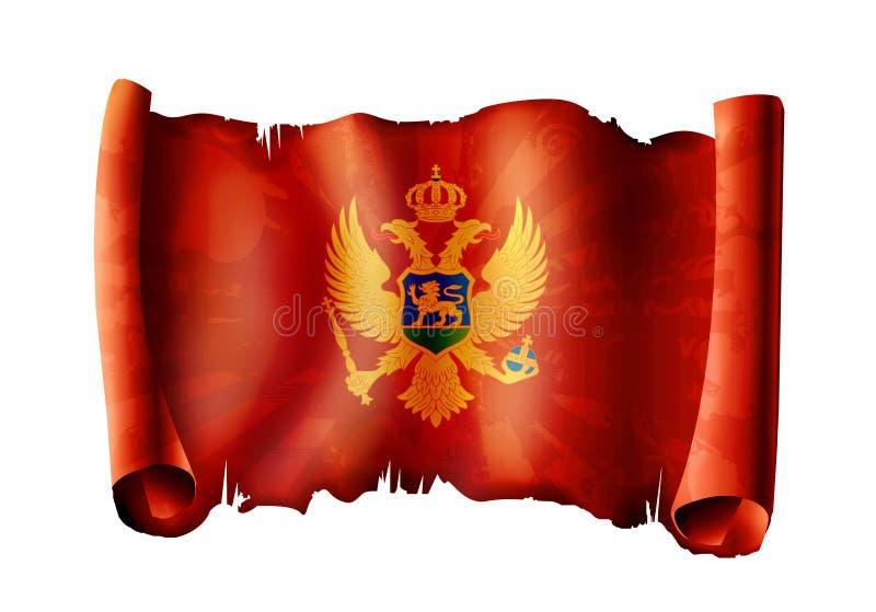 De vlag van Montenrgro stock illustratie
