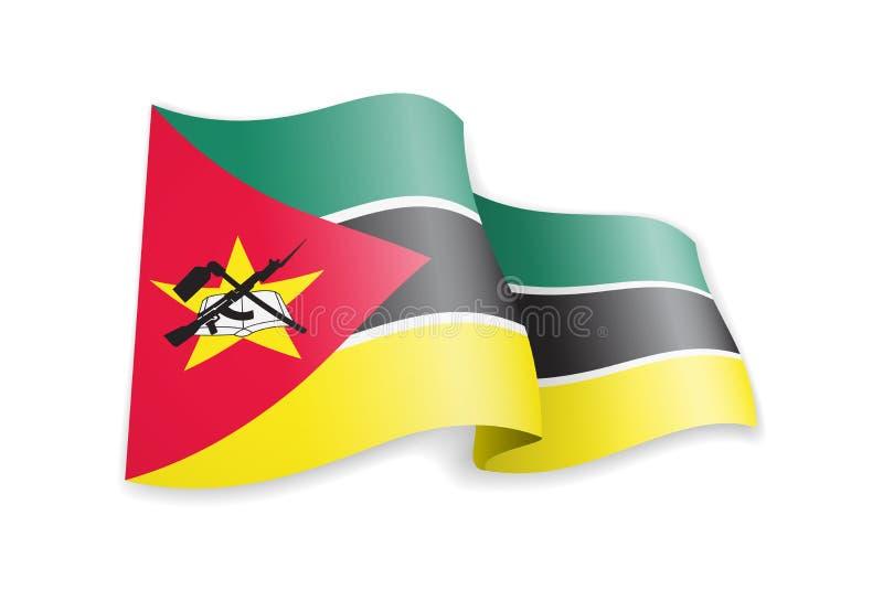 De vlag van Mozambique in de wind Vlag op witte vectorillustratie stock illustratie