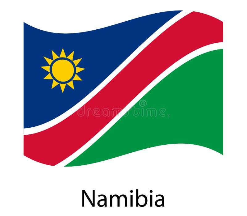 De vlag van Namibië Nationaal patriottisch symbool in de officiële kleuren van het land Illustratie van de golvende vlag van de s stock illustratie