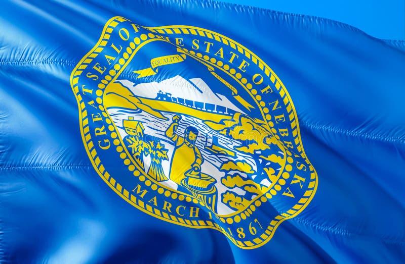 De vlag van Nebraska 3D het Golven de V.S. de vlagontwerp van de staat Het nationale symbool van de V.S. van de staat van Nebrask stock foto's
