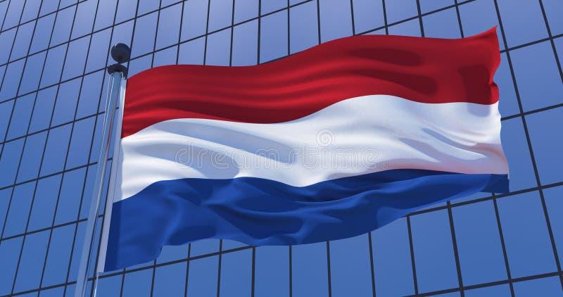 De vlag van Nederland op wolkenkrabber de bouwachtergrond 3D Illustratie vector illustratie
