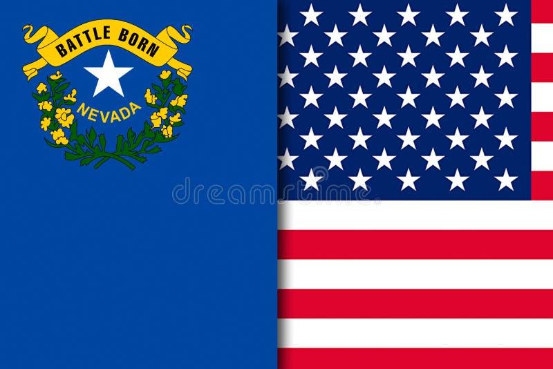 De vlag van Nevada en van de V.S. royalty-vrije illustratie