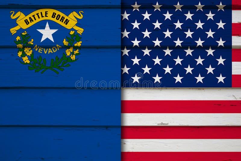 De vlag van Nevada en van de V.S. stock afbeeldingen