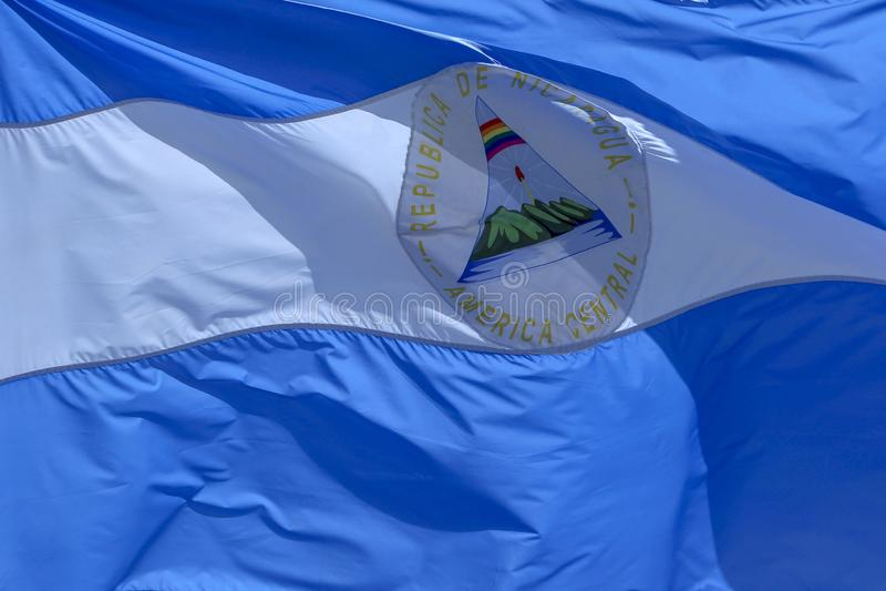 De vlag van Nicaragua stock fotografie