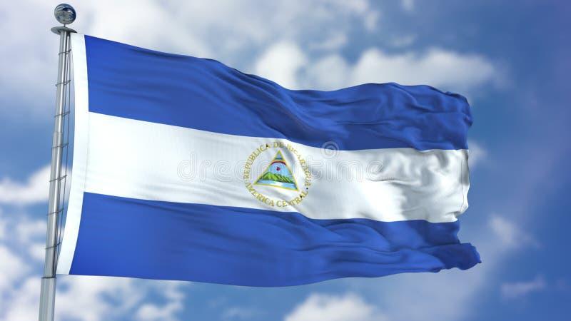 De Vlag van Nicaragua in een Blauwe Hemel royalty-vrije stock foto