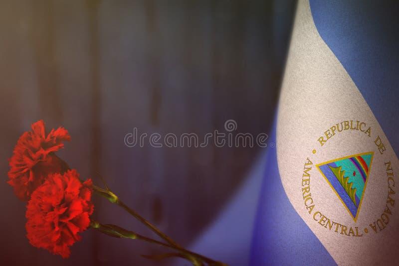 De vlag van Nicaragua voor eer van veteranendag of herdenkingsdag met rode anjer twee bloeit model Glorie aan de helden van Nicar royalty-vrije stock afbeeldingen