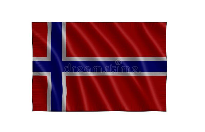 De Vlag van Noorwegen stock illustratie