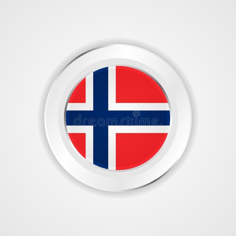 De vlag van Noorwegen in glanzend pictogram stock illustratie