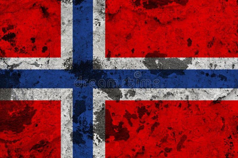 De vlag van Noorwegen op oude muur stock illustratie