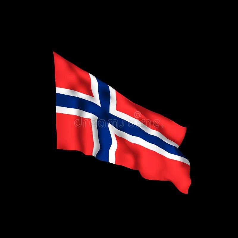 De Vlag van Noorwegen Vectorillustratie van Noorse vlag vector illustratie
