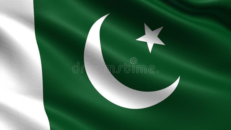 De vlag van Pakistan, met het golven stoffentextuur stock foto's