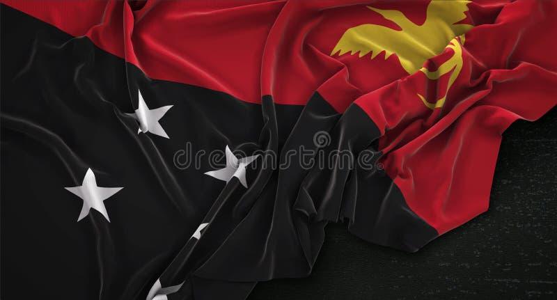 De Vlag van Papoea-Nieuw-Guinea op Donkere 3D die Achtergrond wordt gerimpeld geeft terug vector illustratie