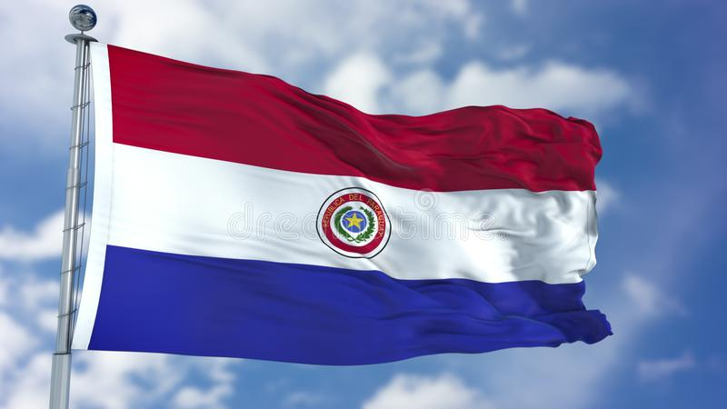 De Vlag van Paraguay in een Blauwe Hemel royalty-vrije stock afbeelding