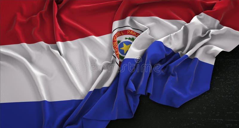 De Vlag van Paraguay op Donkere 3D die Achtergrond wordt gerimpeld geeft terug royalty-vrije illustratie
