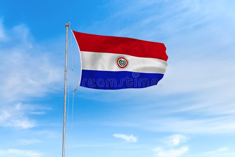 De vlag van Paraguay over blauwe hemelachtergrond vector illustratie