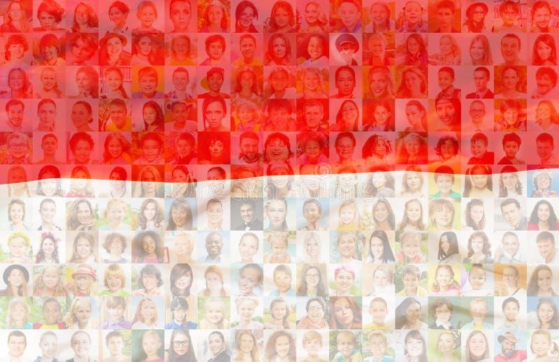 De vlag van Polen met portretten van Poolse mensen stock afbeeldingen