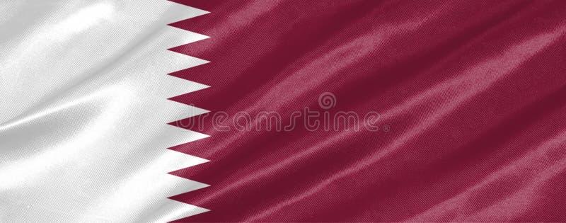 De vlag van Qatar royalty-vrije illustratie