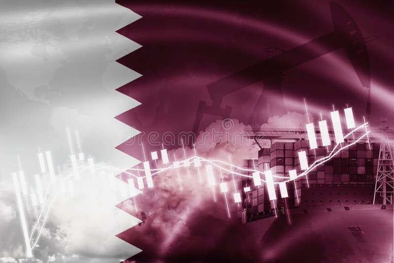 De vlag van Qatar, effectenbeurs, uitwisselingseconomie en Handel, olieproductie, containerschip in de uitvoer en de invoerzaken  stock illustratie