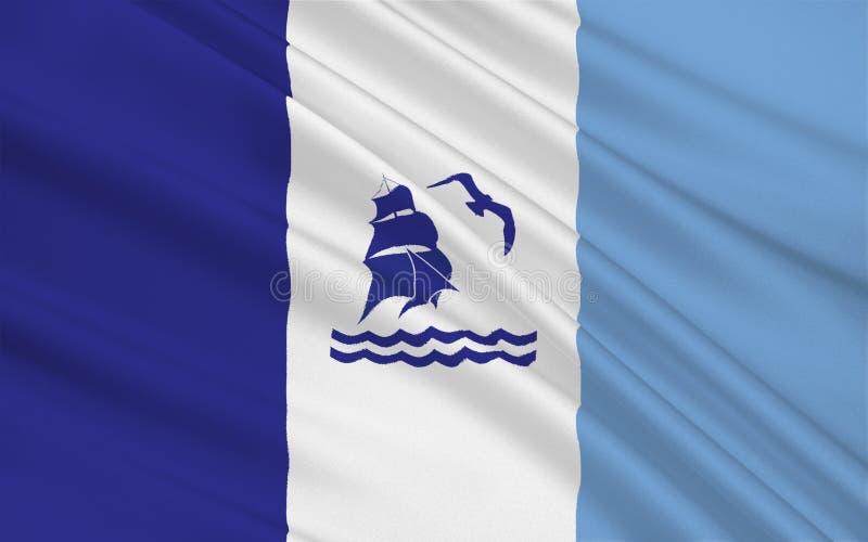 De vlag van Rio Gallegos van Santa Cruz is een provincie in Argentinië stock fotografie