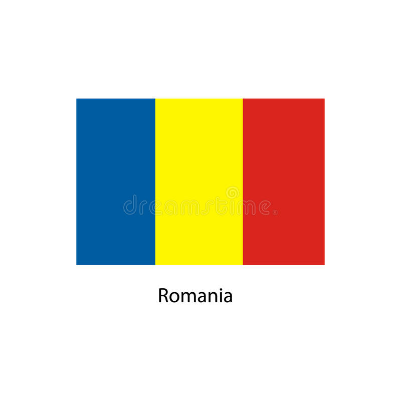 De vlag van Roemenië, officieel kleuren en aandeel correct De nationale vlag van Roemenië vector illustratie