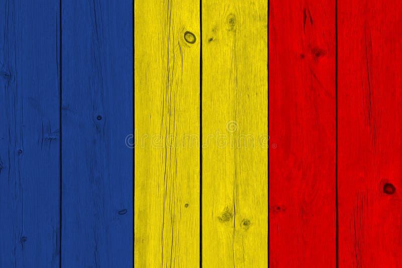 De vlag van Roemenië op oude houten plank wordt geschilderd die stock afbeeldingen