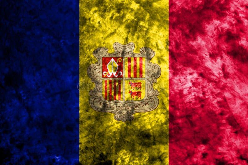 De vlag van de de rookvlag van Andorra grunge op oude vuile muur stock illustratie