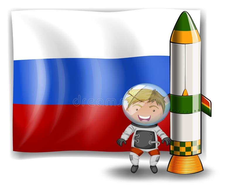 De vlag van Rusland bij rug van ontdekkingsreiziger vector illustratie