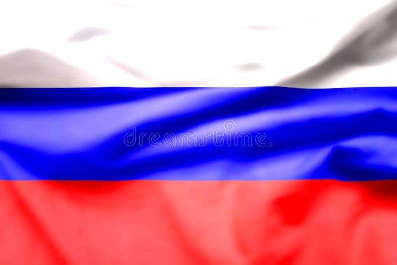 De vlag van Rusland is een tricolour vlag die uit drie gelijke horizontale gebieden/wit op de bovenkant bestaan, blauw in het mid royalty-vrije illustratie