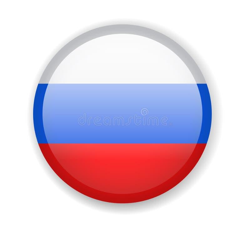 De Vlag van Rusland Rond helder Pictogram op een witte achtergrond vector illustratie
