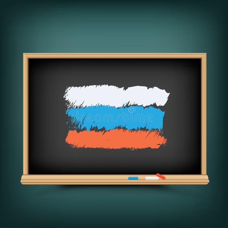 De vlag van Rusland trekt op schoolbord vector illustratie