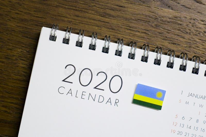De Vlag van Rwanda op de Kalender van 2020 royalty-vrije stock foto's