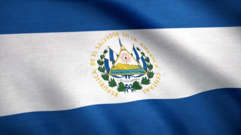 De vlag van Salvador het golven animatie Het volledige scherm Vlag van El Salvador Teruggegeven gebruikend officiële ontwerp en k stock afbeelding