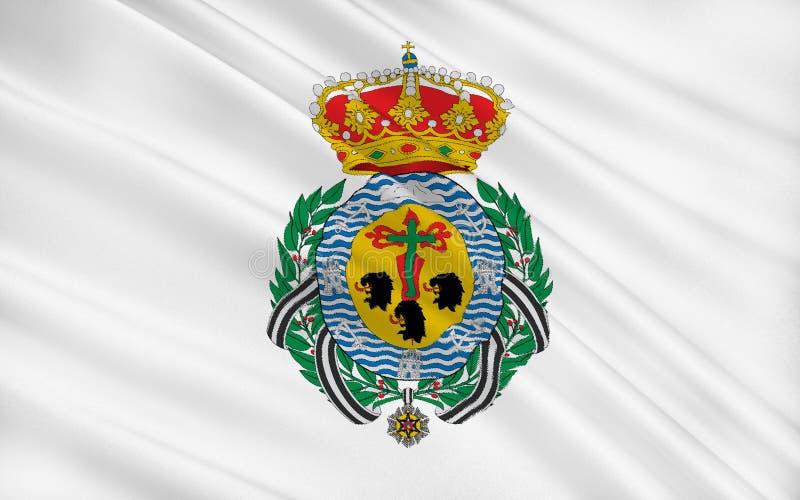 De vlag van Santa Cruz de Tenerife is een stad en een kapitaal van Cana vector illustratie