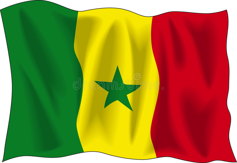 De vlag van Senegal stock illustratie
