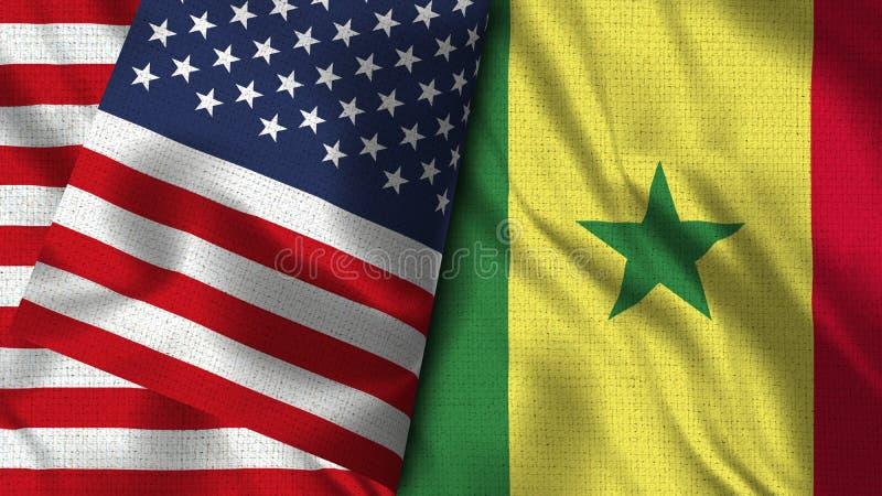 De Vlag van Senegal en van de V.S. - 3D illustratie Twee Vlag royalty-vrije illustratie