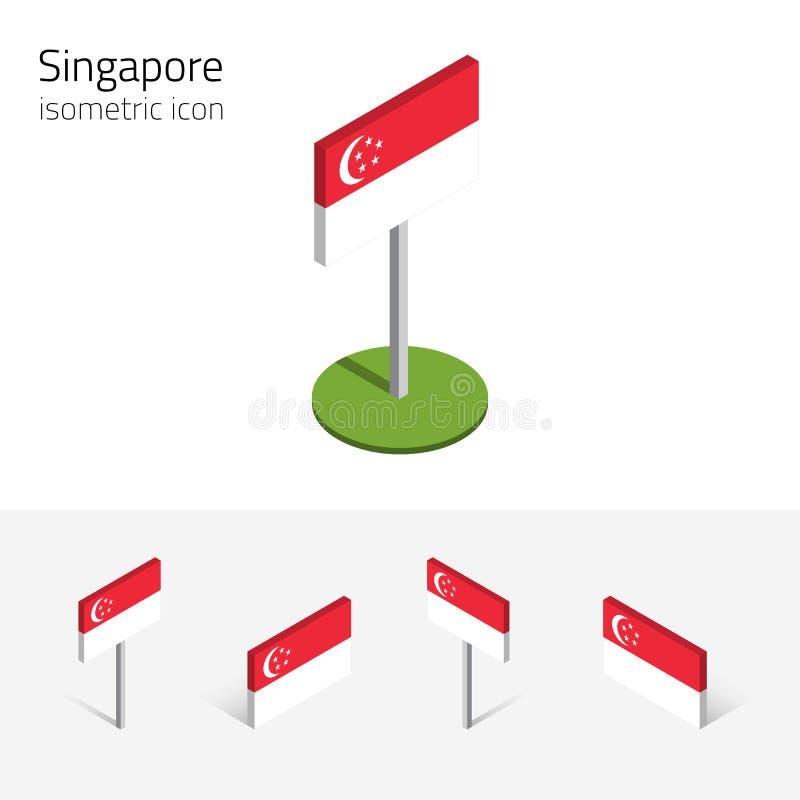 De vlag van Singapore, vectorreeks isometrische vlakke pictogrammen, 3D stijl royalty-vrije illustratie
