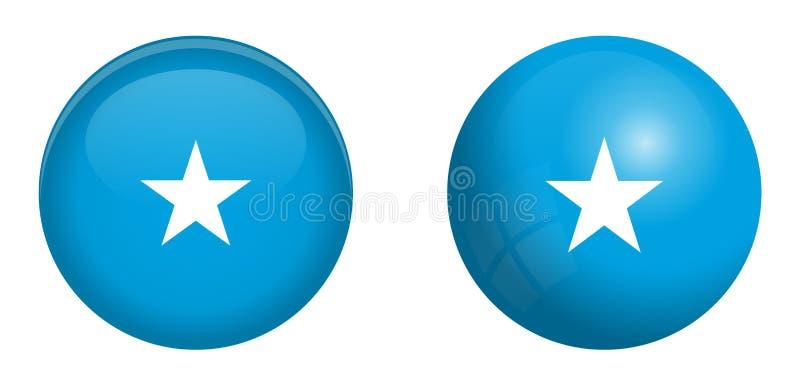 De vlag van Somalië onder 3d koepelknoop en op glanzende gebied/bal vector illustratie