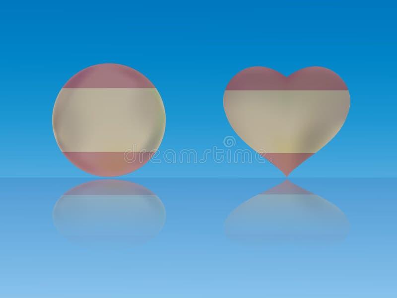 De vlag van Spanje in glanzende bal en hart met bezinning over blauwe vectorillustratie als achtergrond royalty-vrije illustratie