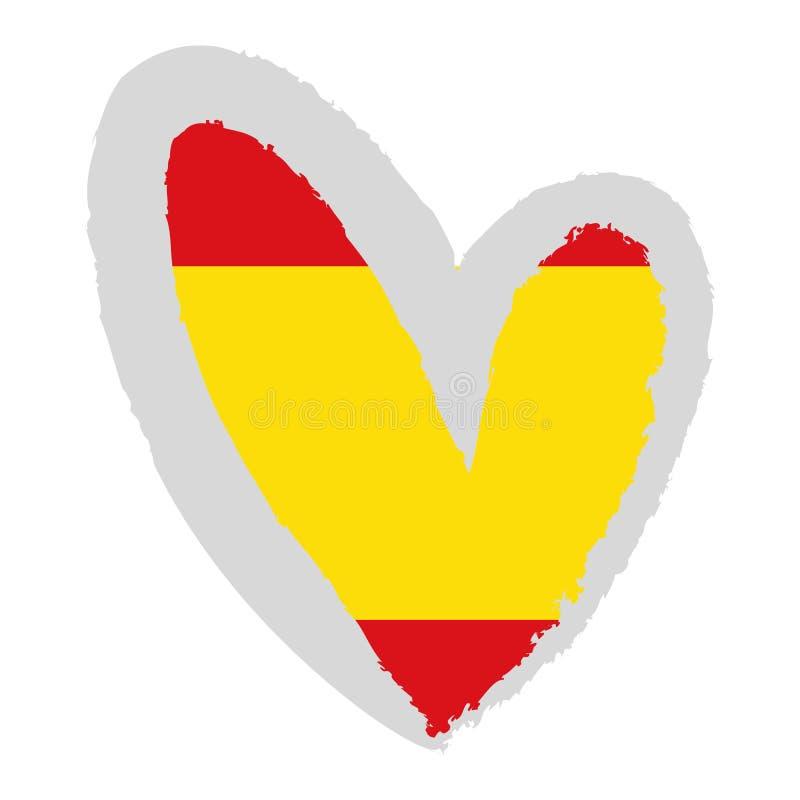 De vlag van Spanje in hartvorm vector illustratie
